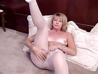blond aged masturbates in white pantyhose
