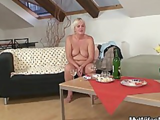 drunk fuckfest with sexually excited granny and