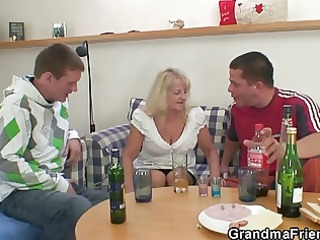 golden-haired granny in hawt three-some fuckfest