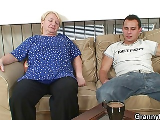 horny youthful chap bangs old blond woman