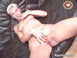 slutty blonde mum with admirable tits receives