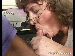crazy old mommy receives big knob