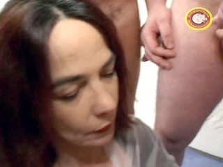 slender mature woman takes a triple dicking