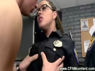 the horny milfs receive bent over the police deks