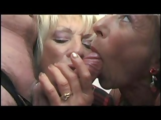 naughty old stud gets sucked by two grannies then