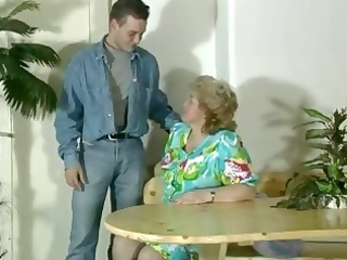 old bulky golden-haired granny gets toyed and